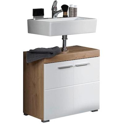 weißer Waschbecken-Unterschrank mit Holz
