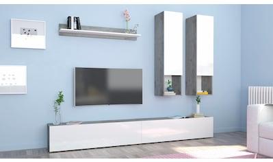 Tecnos Wohnwand, (Set, 5 St.), weiße Hochglanz Fronten/ Korpus kaufen