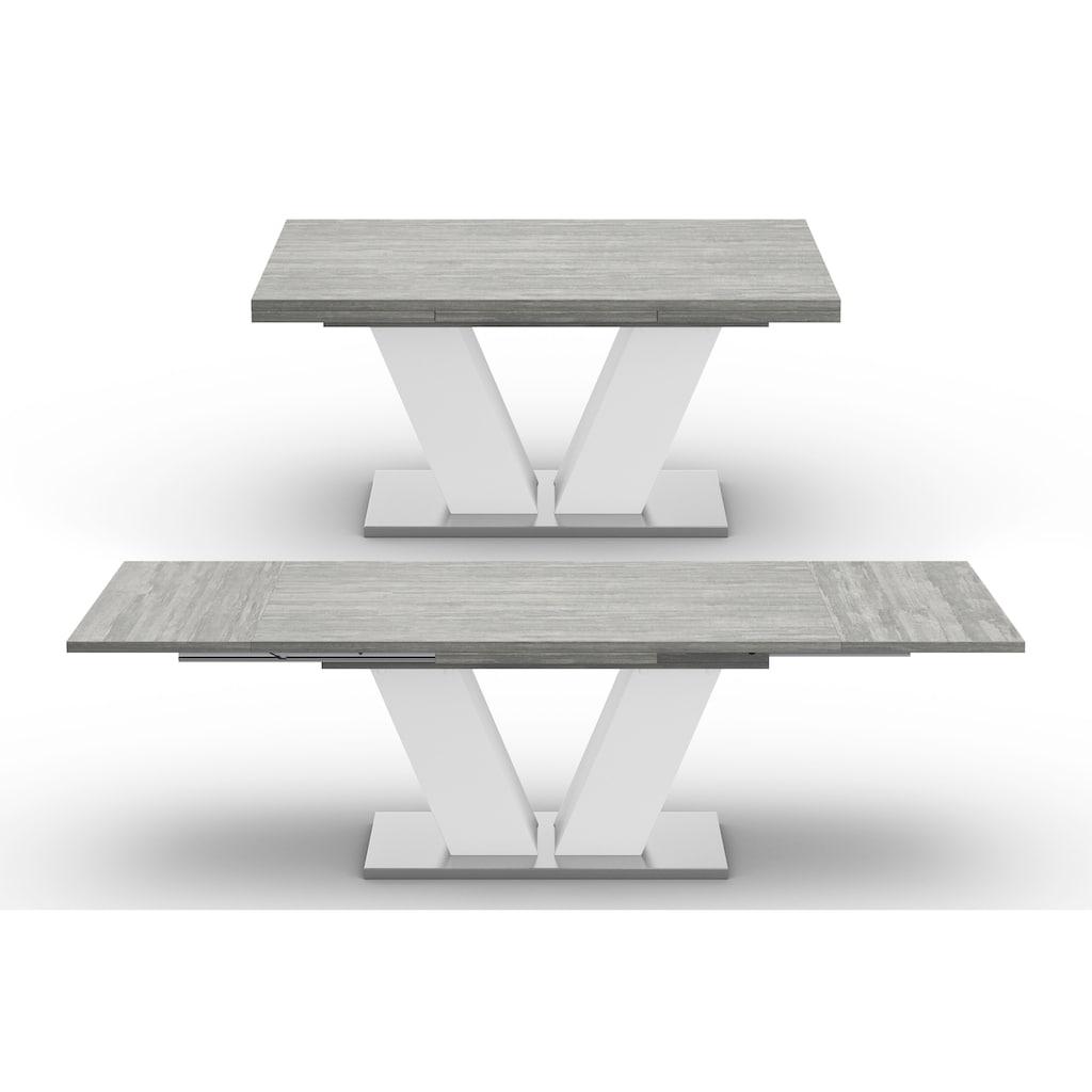 Mäusbacher Esstisch »Komfort D«, mit V-Gestell in weiß und mit Auszugsfunktion, Breite 160-260 cm