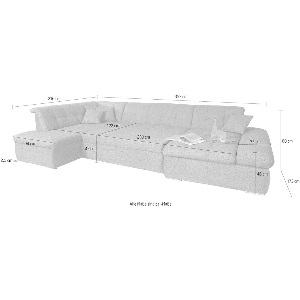 DOMO collection Wohnlandschaft »NMoric«, im XXL-Format, wahlweise mit Bettfunktion und Armlehnenverstellung