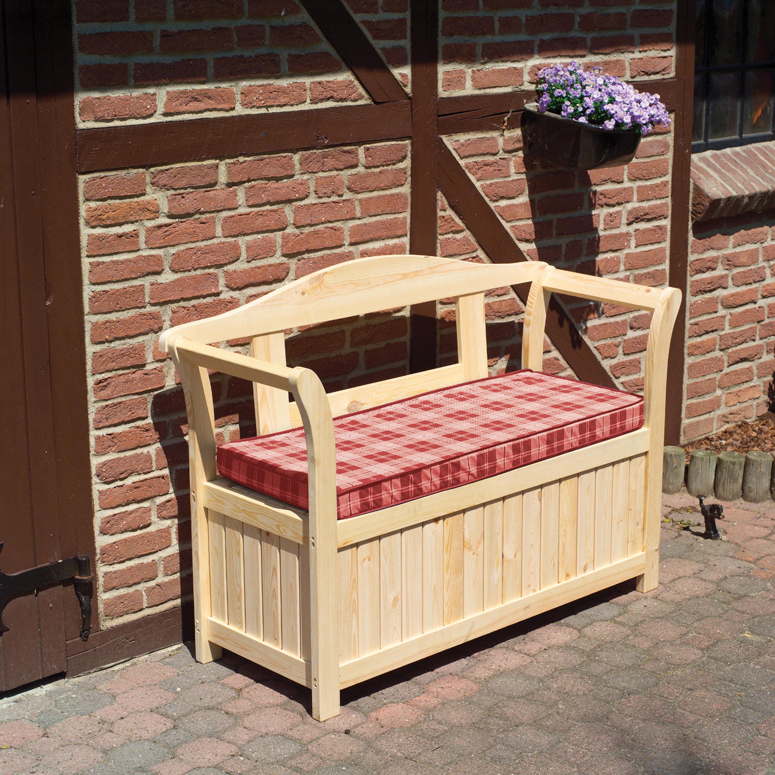 PROMADINO Gartenbank Kiefernholz 130x50x93 cm inkl Auflagen