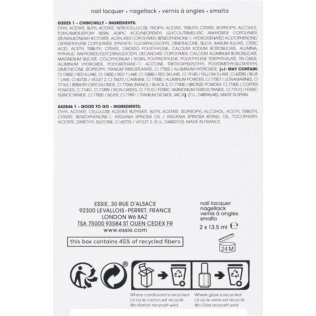 essie Nagellack-Set »good luck«, (2 tlg., Nagellackfarbe chinchilly (13,5ml) + Nagelüberlack good to go (13,5ml)