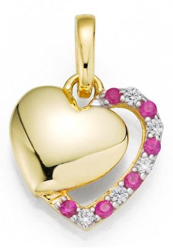 Firetti Kettenanhänger »Doppel-Herz, tricolor«, mit Zirkonia und Rubinen kaufen