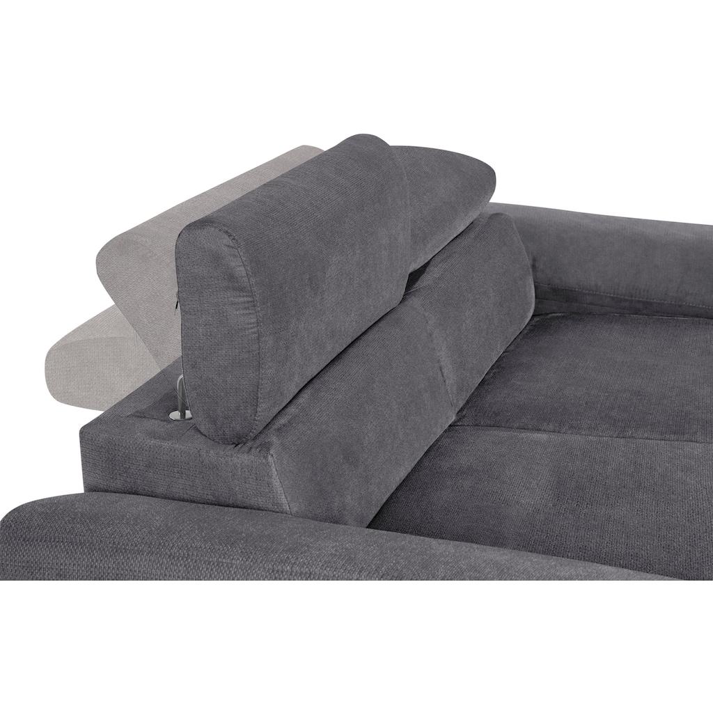 COTTA Polstergarnitur »Komaris«, (Set), Set: bestehend aus 2-Sitzer und Hocker, Sofa inklusive Kopfteilverstellung
