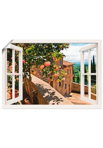 Artland Wandbild »Fensterblick Rosen auf Balkon Toskana«, Garten, (1 St.), in vielen... kaufen