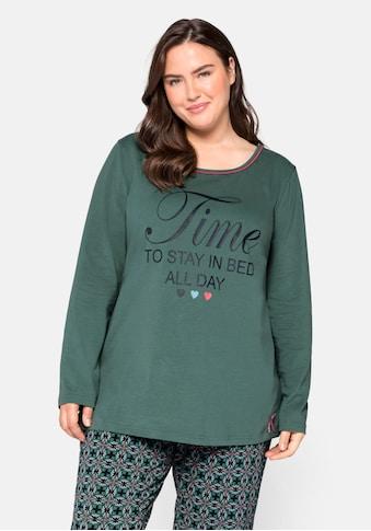 Sheego Pyjamaoberteil, mit Statementdruck kaufen