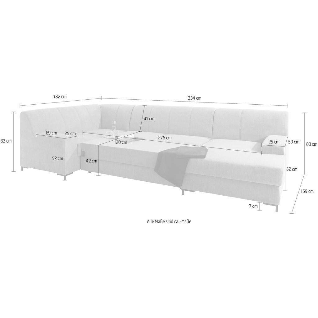 DOMO collection Wohnlandschaft »Ledas«, mit extrabreiten Armteilen, wahlweise mit Bettfunktion