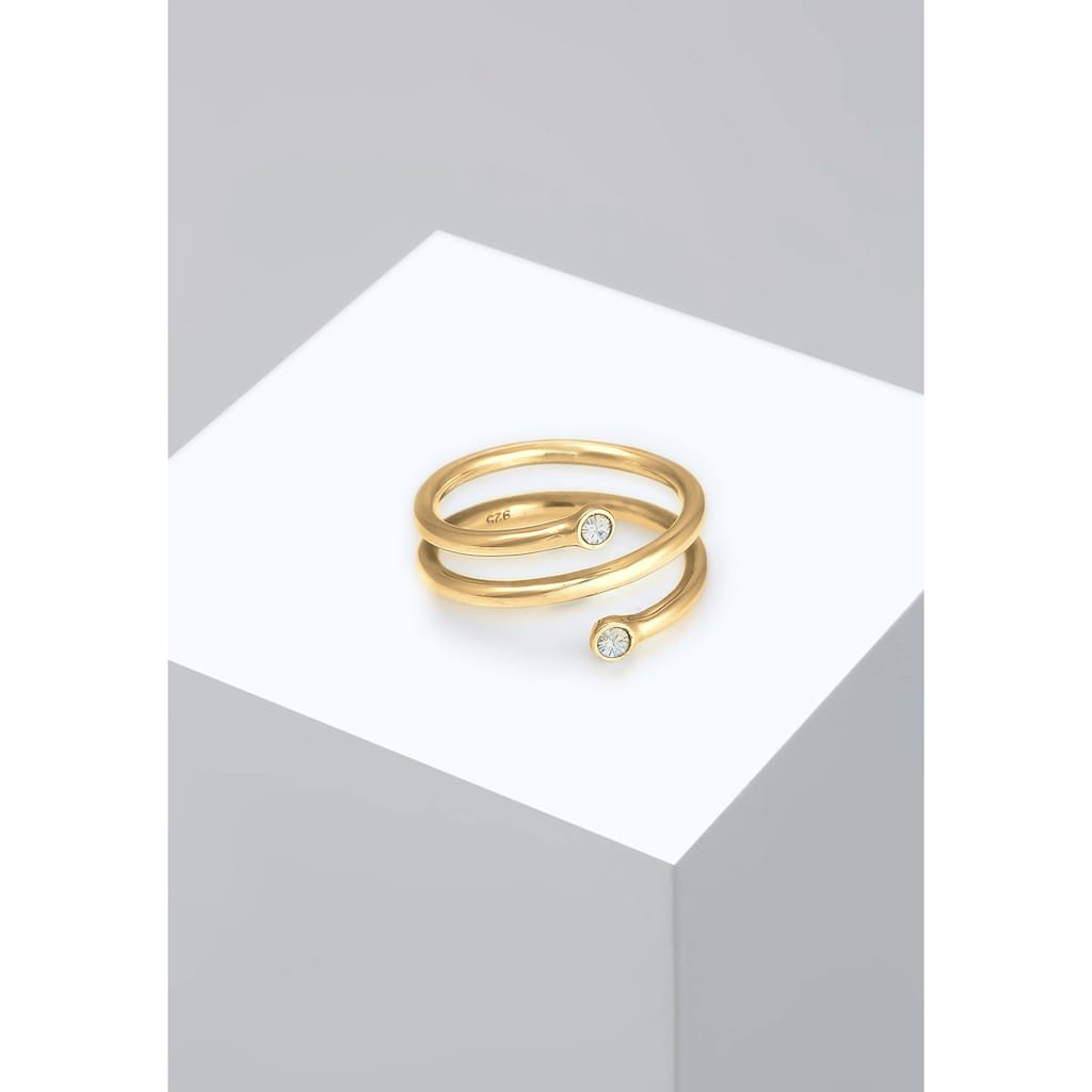 Elli Fingerring »Wickelring Geo Kristalle 925er Silber«