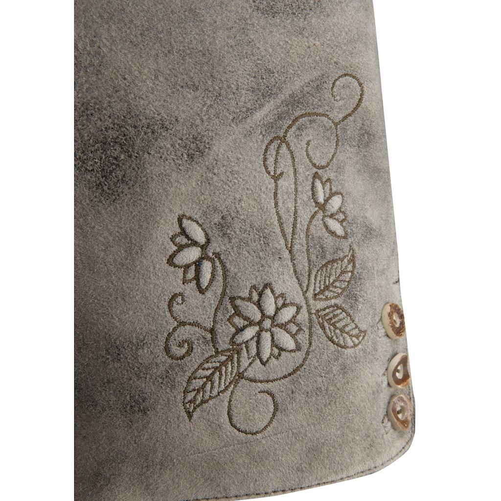 MarJo Trachtenlederhose, im Used-Look aus Ziegenvelousleder