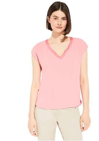 Comma V-Shirt, mit Satinblende im Materialmix kaufen