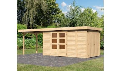 KONIFERA Set: Gartenhaus »Ostsee 5«, BxT: 667x238 cm, mit Anbauschrank und Anbaudach kaufen