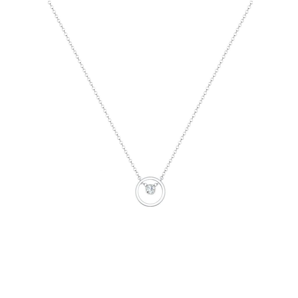 Elli Collierkettchen »Femme Cercle avec Cristal en Argent Sterling 925«