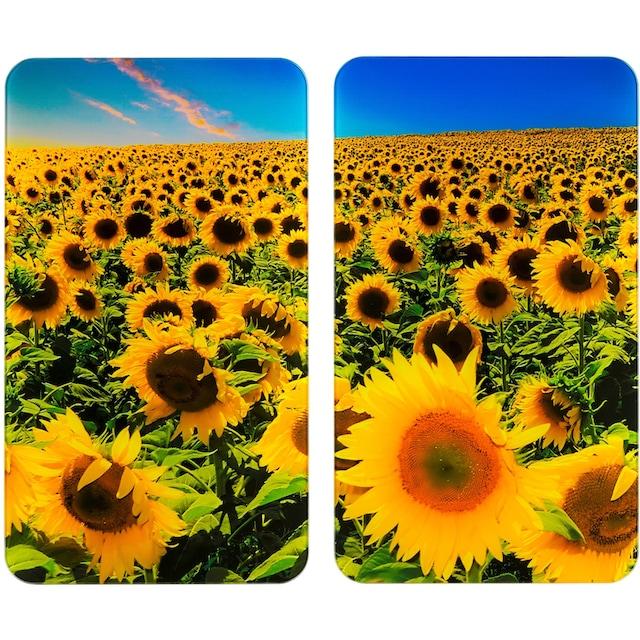 "WENKO Herd-Abdeckplatte ""Universal Sonnenblumenfeld"", Glas Kunststoff, (Set, 2-tlg.)"