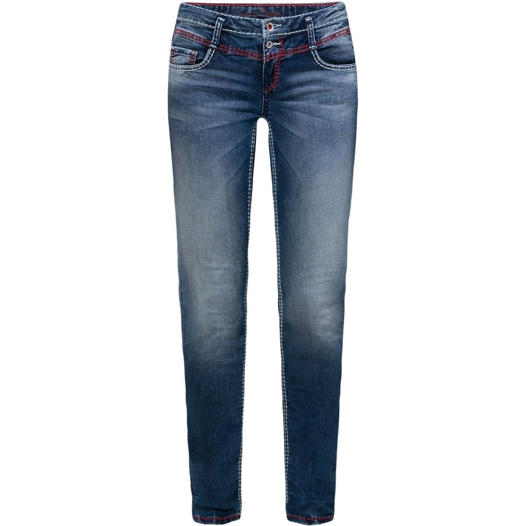 SOCCX Slim-fit-Jeans »KA:RA«, mit Doppel-Knopf und Deko-Nähten