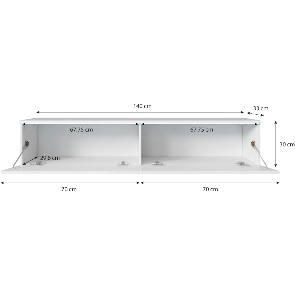 INOSIGN Lowboard, Breite 140 cm, stehend und hängend