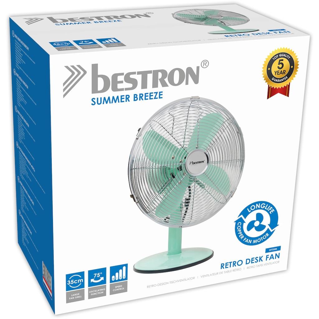 bestron Tischventilator »Summer Breeze«, mit Schwenkfunktion im Retro-Design, Höhe: 43 cm, Ø 35 cm, 35 Watt, Mint