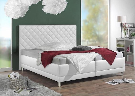 weißes Kunstlederbett