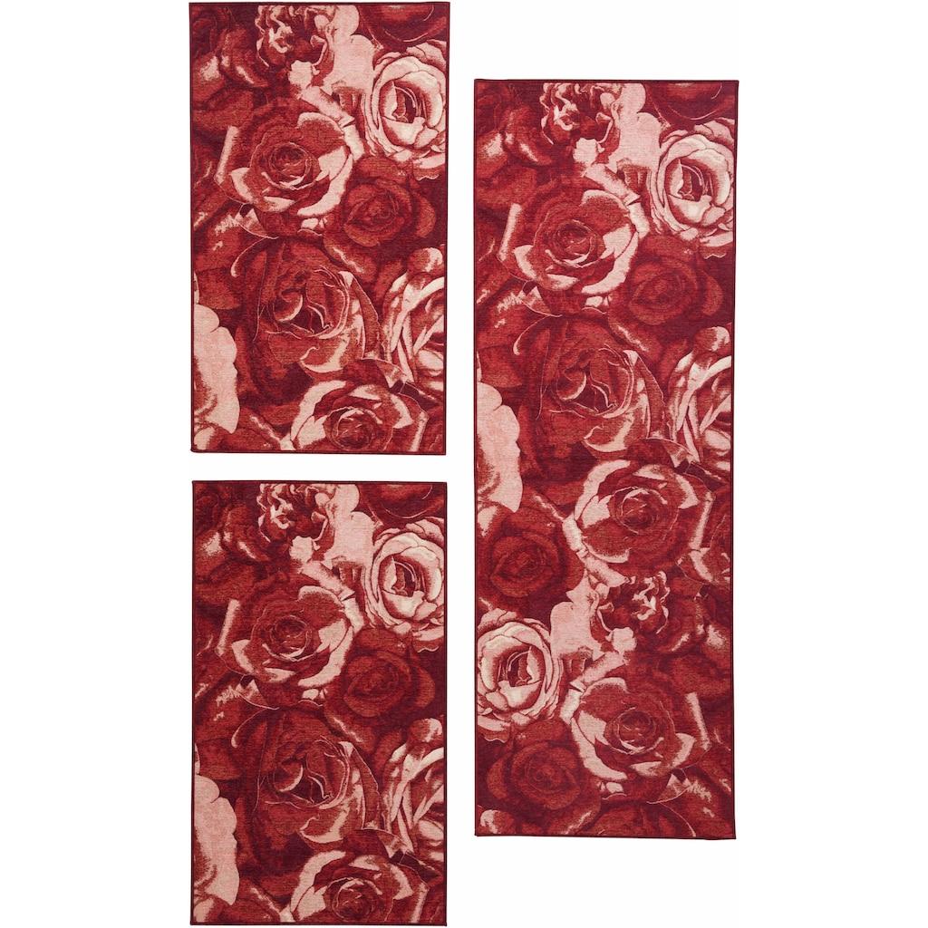 THEKO Bettumrandung »Flomi Rose«, Bettvorleger, Läufer-Set für das Schlafzimmer, gewebt, Rosen Motiv