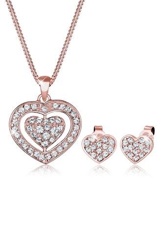 Elli Schmuckset »Herz Kristalle Pretty 925 Silber« kaufen