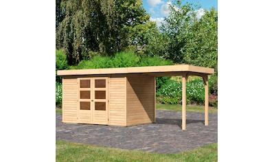 KARIBU Set: Gartenhaus »Arnis 4«, BxT: 554x238 cm, mit Anbaudach kaufen