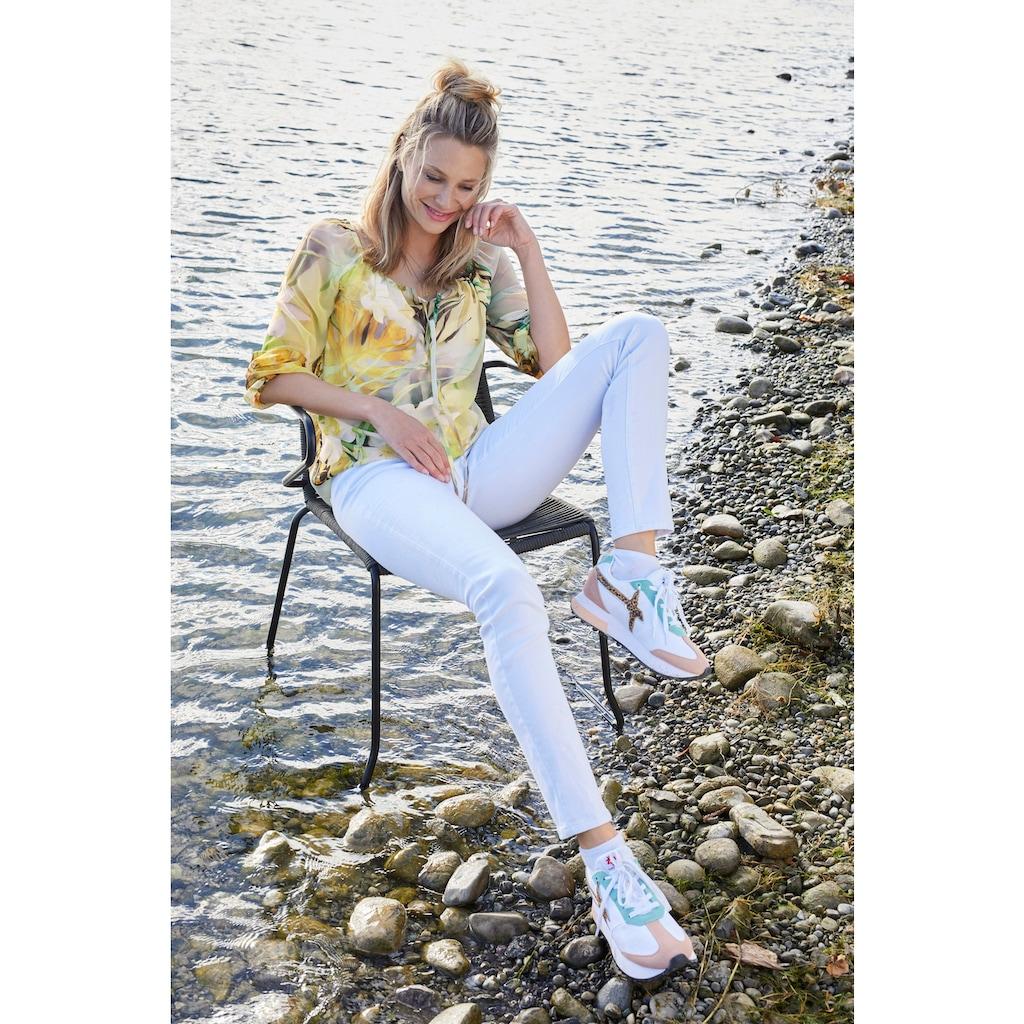 Aniston CASUAL Carmenbluse, mit Tropical-Print