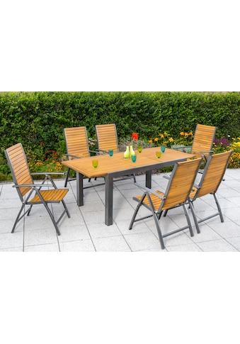MERXX Gartenmöbelset »Santorin«, 7 - tlg., 6 Klappsessel, Tisch 150 - 200 cm, Alu/Akazienholz kaufen
