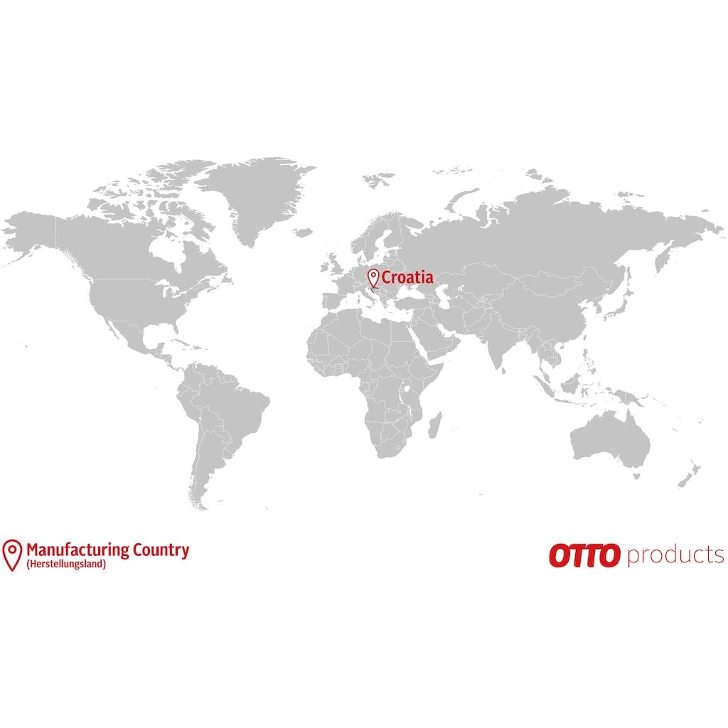 OTTO products Esstisch »Lennard«, aus massiver geölter Wildeiche, mit veganem und zertifizierten Bio-Öl behandelt, rechteckige Tischplatte, mit Schweizer Kante und Holzkufengestell