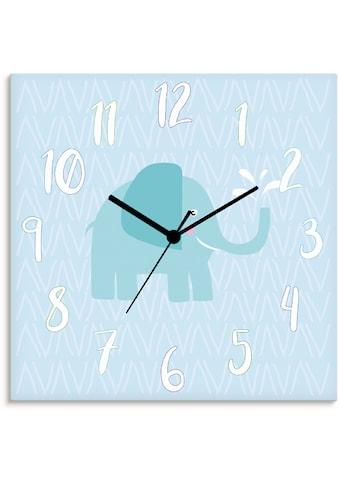 Artland Wanduhr »Elefant auf blau«, lautlos, ohne Tickgeräusche, nicht tickend,... kaufen