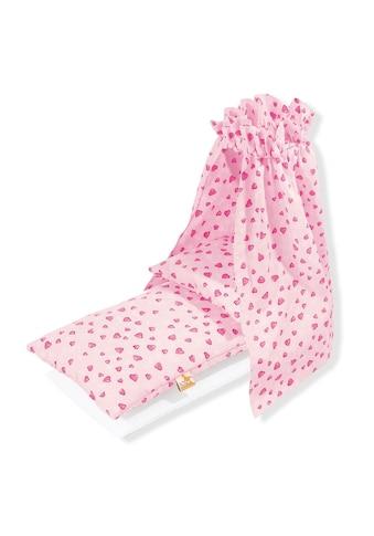 Pinolino® Puppen Bettwäsche »Bettzeug mit Himmel für Puppenwiege, Herzchen«, Made in Europe kaufen