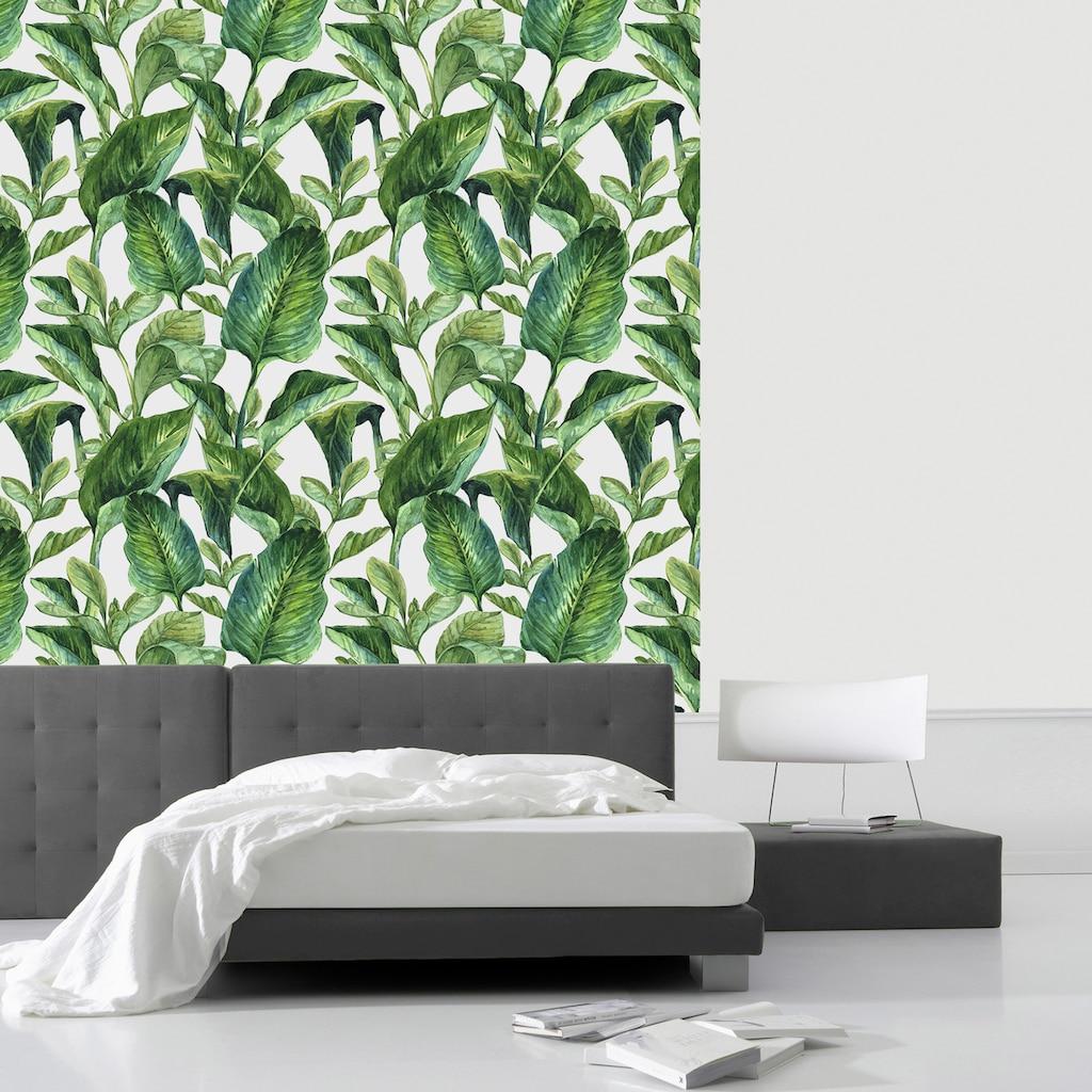 queence Vinyltapete »Green Leaves«, 90 x 250 cm, selbstklebend
