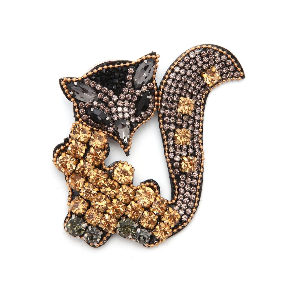 J.Jayz Brosche »Fuchs, glitzerndes Design«, mit Glassteinen