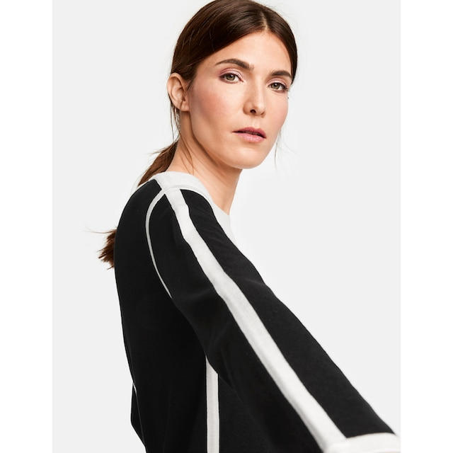 GERRY WEBER Pullover Langarm Rundhals »Pullover im Kontrastlook«