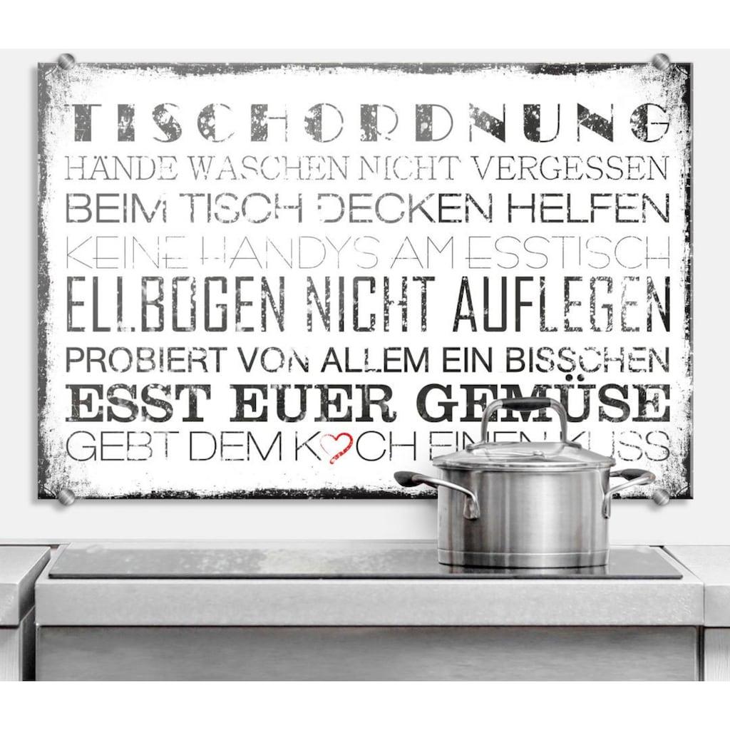 Wall-Art Herd-Abdeckplatte »Spritzschutz Küche Tischordnung«, (1 tlg.)