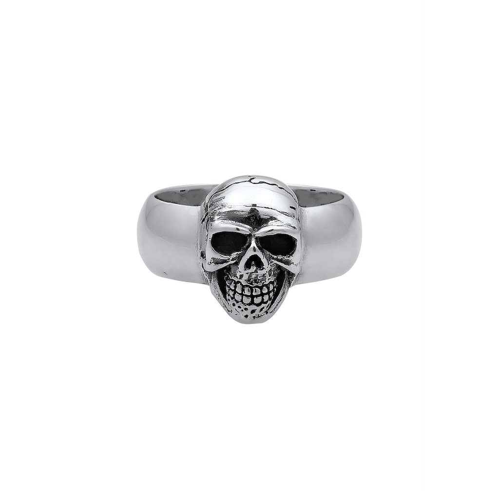 Kuzzoi Siegelring »Herren Siegelring Totenkopf Oxidiert 925er Silber«