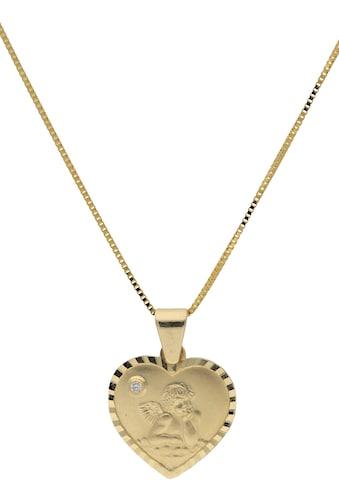 Firetti Kette mit Anhänger »Herz mit Schutzengel«, mit Diamant kaufen