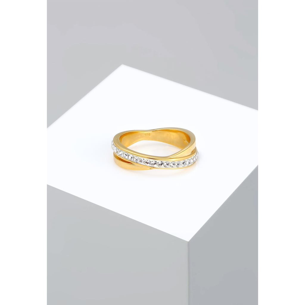 Elli Fingerring »Wickelring Zart Kristalle 925 Silber«