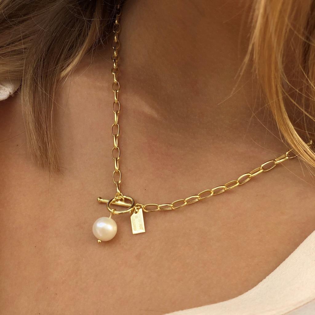 AILORIA Perlenkette »SAYURI gold/weiße Perle«, 925 Sterling Silber vergoldet Süßwasserperle