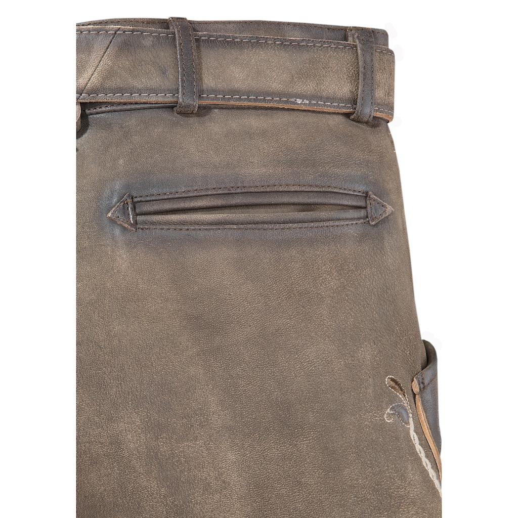 KRÜGER BUAM Trachtenlederhose, (2 tlg.), mit beeindruckender Metallschnalle