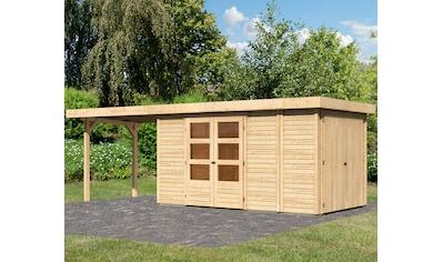 WOODFEELING Set: Gartenhaus »Retola 5«, BxT: 667x238 cm, mit Anbauschrank und Anbaudach kaufen