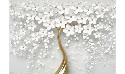 CONSALNET Vliestapete »Baum mit Blütten/gold«, in verschiedenen Größen kaufen