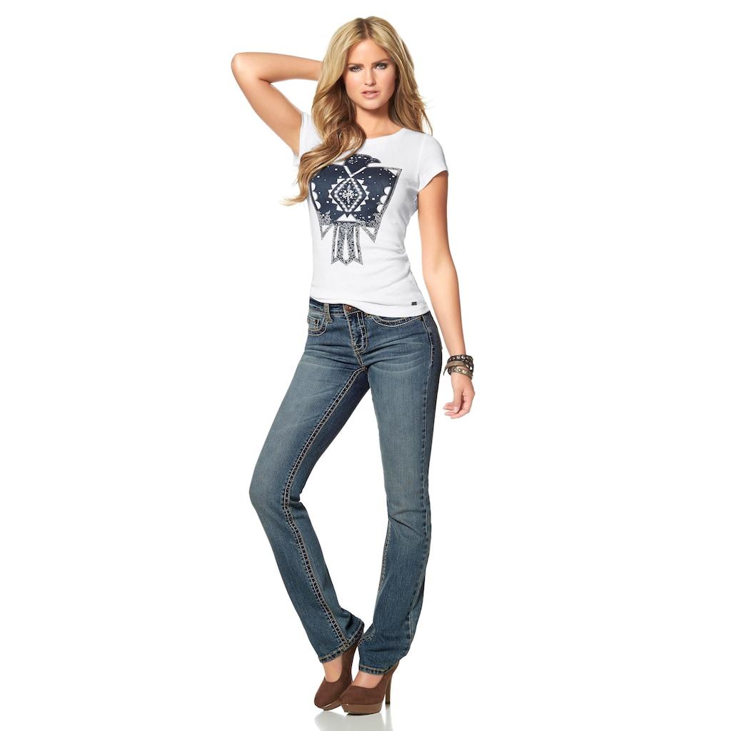 Arizona Gerade Jeans »Kontrastnähte«, Mid Waist
