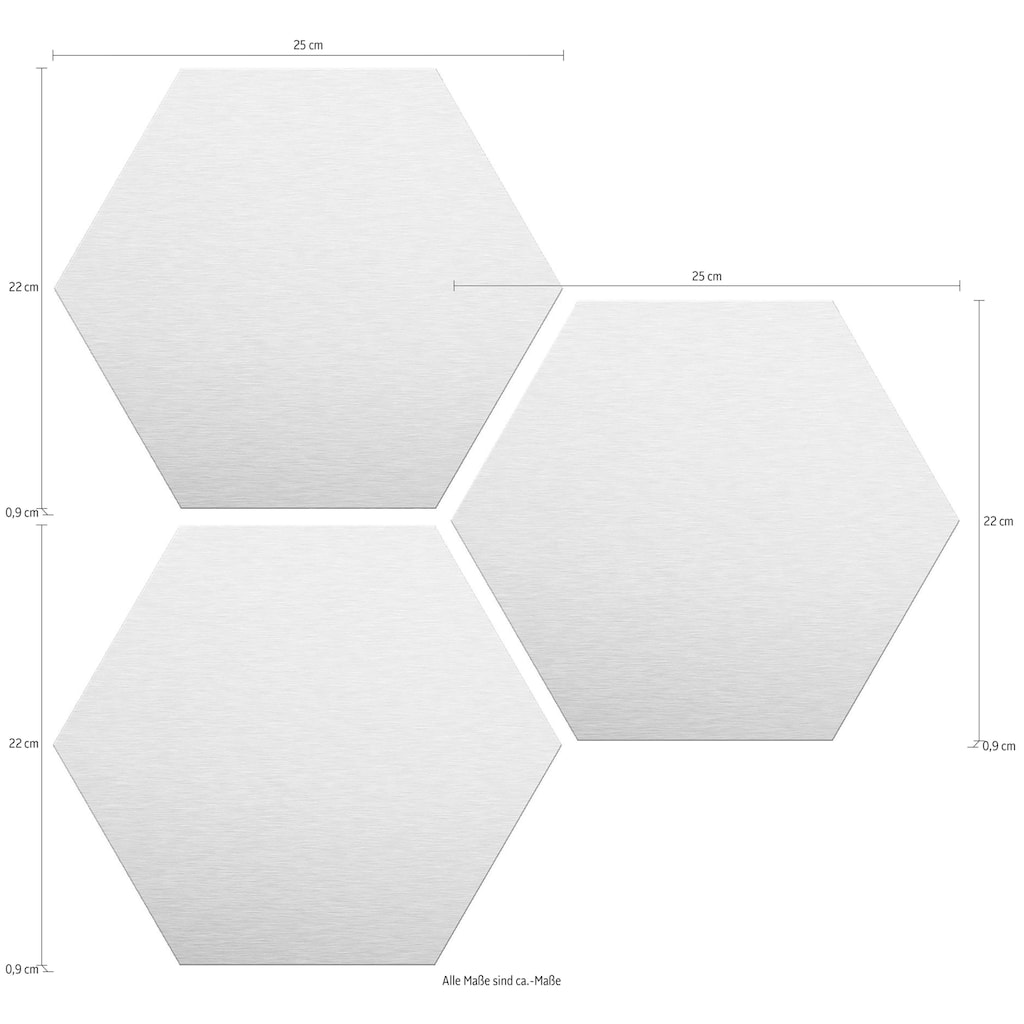 Wall-Art Alu-Dibond-Druck »Goldeffekt«, (Set)