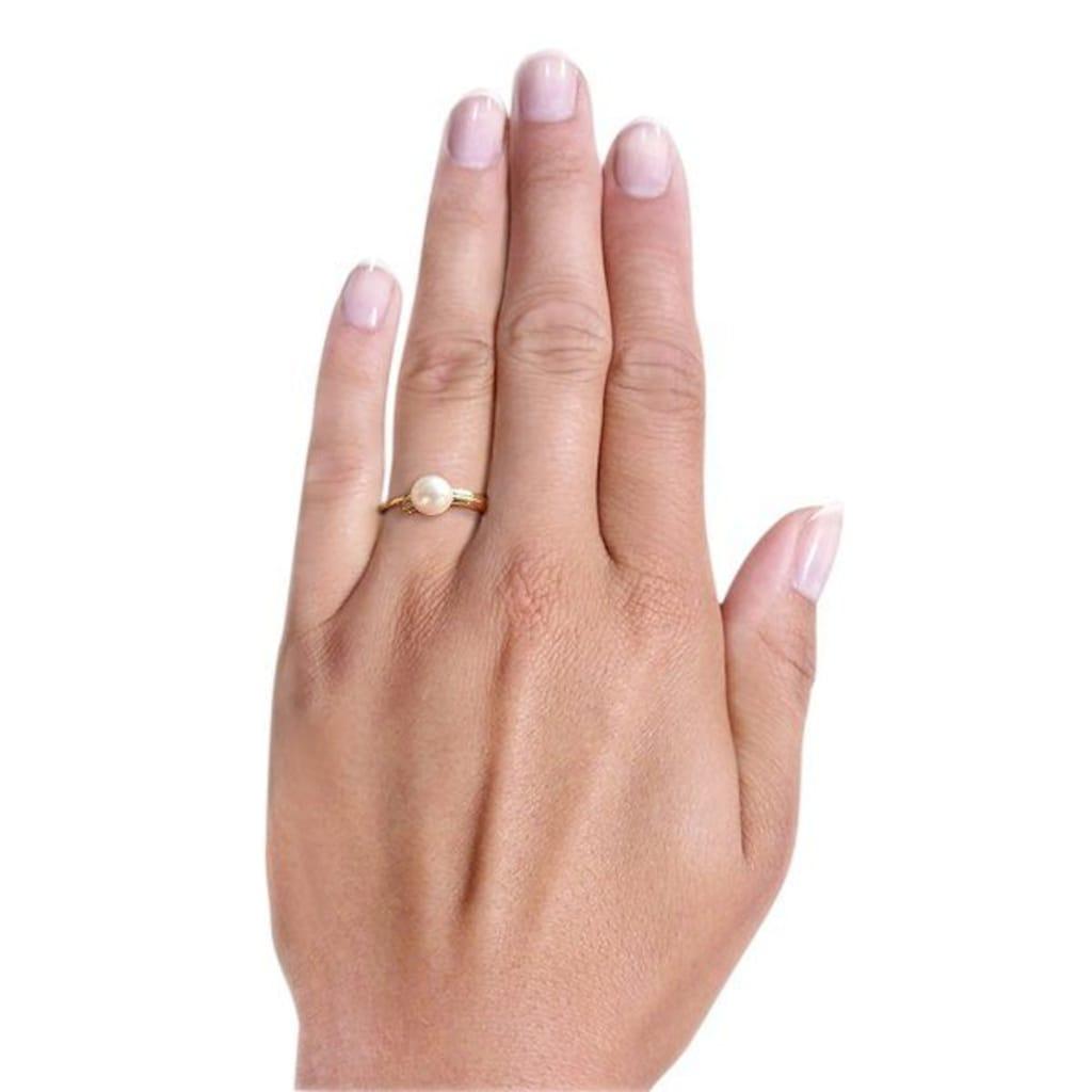 goldmaid Damenring Perle 375/- Gelbgold 2 Diamanten 0,02 ct.