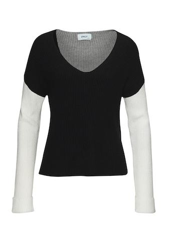 Only V-Ausschnitt-Pullover »ONLFLORELLE«, Colorblock Optik kaufen