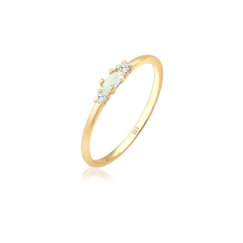 Elli Fingerring »mit Opal Marquise und Zirkonia Silber«