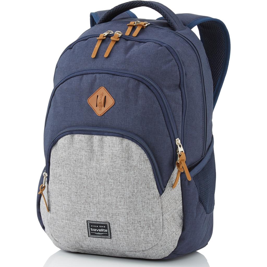 travelite Cityrucksack »Basics Melange, marine/grau«, mit Laptopfach