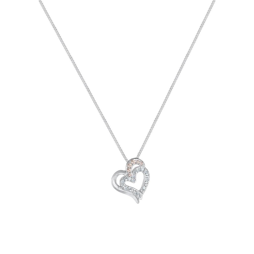 Elli Collierkettchen »Herz Funkeln Swarovski® Kristalle 925 Silber«