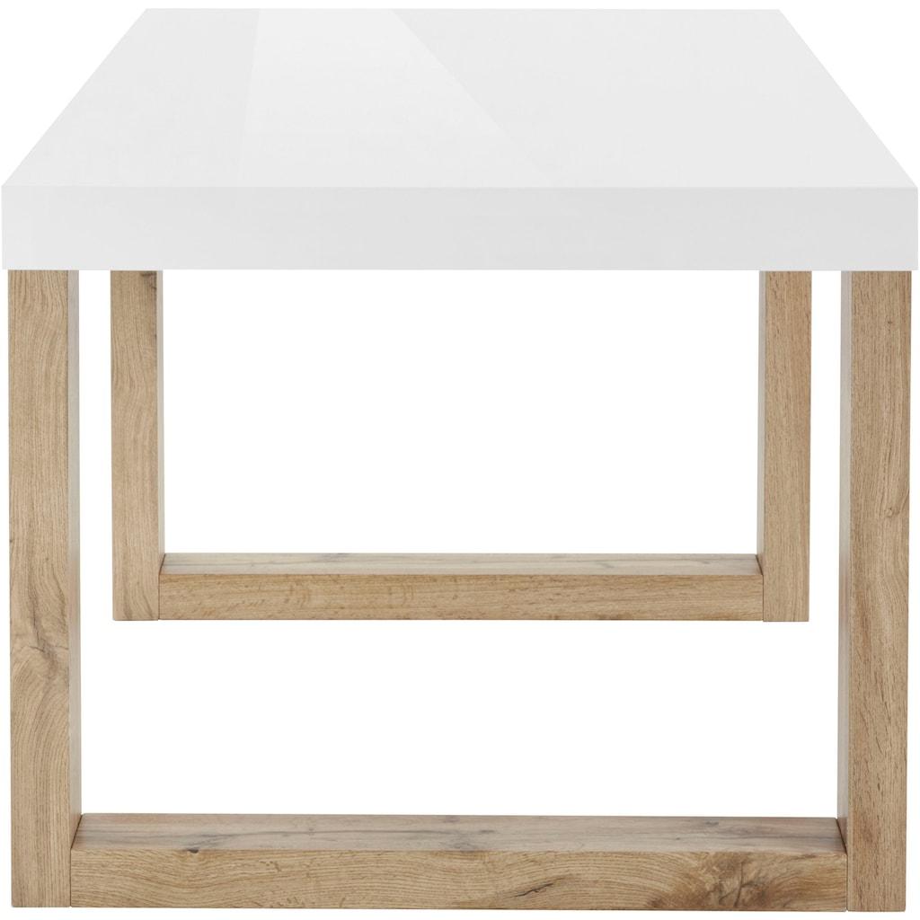 INOSIGN Esstisch »Solid«, mit schönem Holzgestell und einer weißen hochglanzfarbenen Tischplatte, in zwei verschiedenen Größen