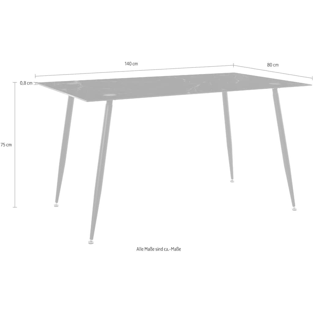 Homexperts Glastisch »Romeo«, Breite 140 cm, in Marmor-Optik