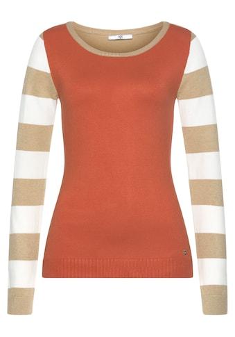 AJC Rundhalspullover, im tollen Uni- und Streifen-Mix kaufen